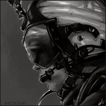 Black and white digital painting of a crew chief while on deployment with the 15th Marine Expeditionary Unit.