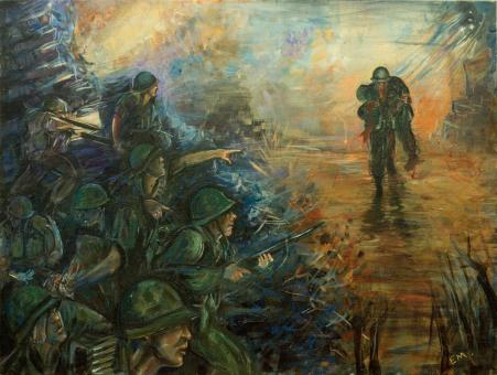 An acrylic painting in which one man is carrying another man with soldiers in front of him firing in battle.
