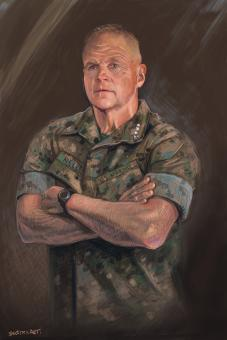 DIgital painting of current Commandant of the Marine Corps General Neller. This is using traditional layering techniques in a digital format. Neller stands proudly with his arms crossed.