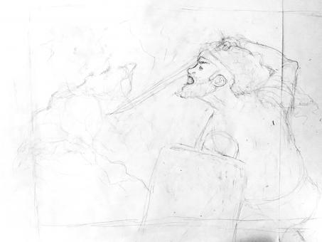 Simple pencil sketch of man fighting monster on white paper