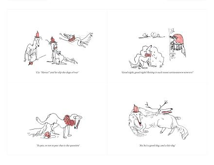 comic strip with dogs playing out Shakespere scenes