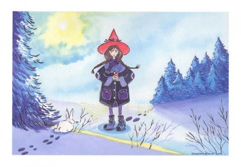 Illustration of young witch standing in the snow in a forest with trees and sun behind her