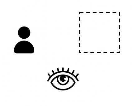 A diagram with a head and shoulders, dotted square line and an eye.