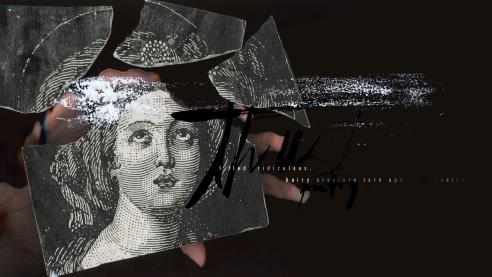 broken ceramic tile with woman's face still in tact. a hand presses the tile against glass on a black background.