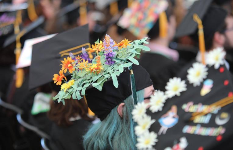 image of decorated mortarboards
