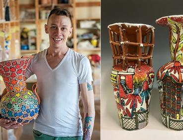 Two photos: Left, Arthur Halvorsen holding a large, colorful vase in a studio. Right, two colorful vases.