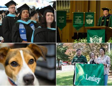 Four pictures from the year: students at graduation, President Weiss at the podium during his inauguration, students hold the new Lesley flag they designed and a closeup of Tally the therapy dog.