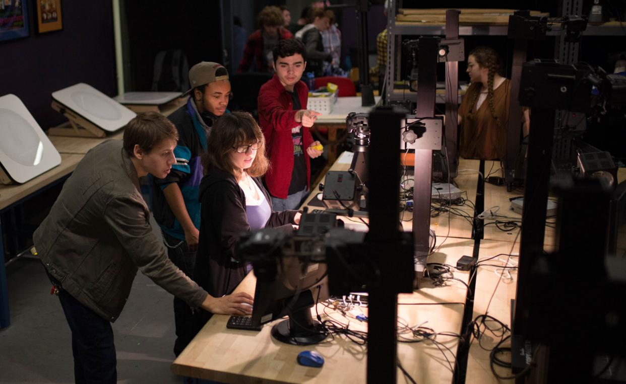 Animation students working in the studio