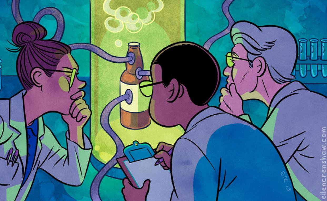 illustration of three scientists in a lab looking at  green lit brown bottle with tubes coming out of it