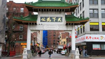 Photograph of city buildings at the entrance to Chinatown in downtown Boston