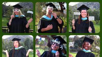 "9 photos of graduates in individual locations wearing their cap and gown and holding up signs like ""I did it"""