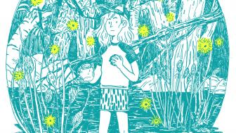 Illustration in blue of a young person standing in water surrounded by trees and fireflies, holding a jar to catch them.