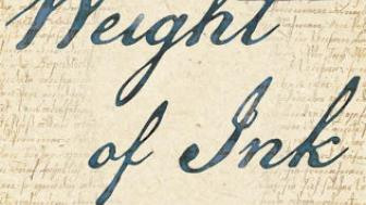 The book jacket of The Weight of Ink - written in script.