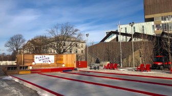 photograph of the winter games at the Science Center Plaza