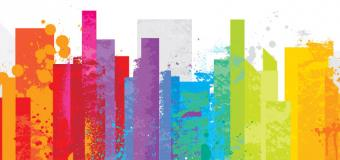 LGBT youth homelessness poster, illustrated by skyline of rainbow buildings