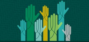 non-profit fundraising poster of seven arms reaching up