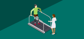 Illustration depicting rehabilitation counselor working with patient using treadmill for physical therapy.
