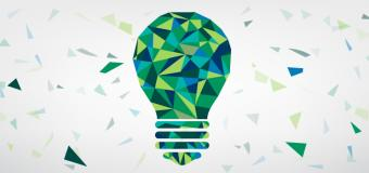 lightbulb constructed with green and blue triangular shapes