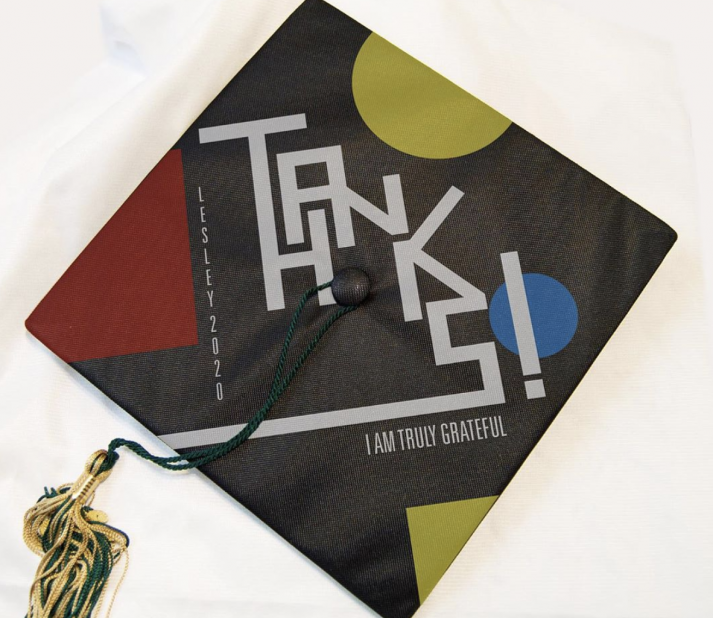 "Decorated graduation cap with the phrase ""Thanks, I am truly grateful."""