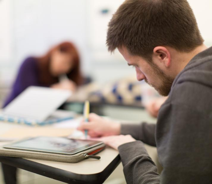 Student studying in a classroom
