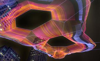 Janet Echelman art installation in Boston