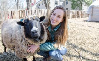 Samantha Sundermeyer '14 with a sheep at Cultivate Care Farm