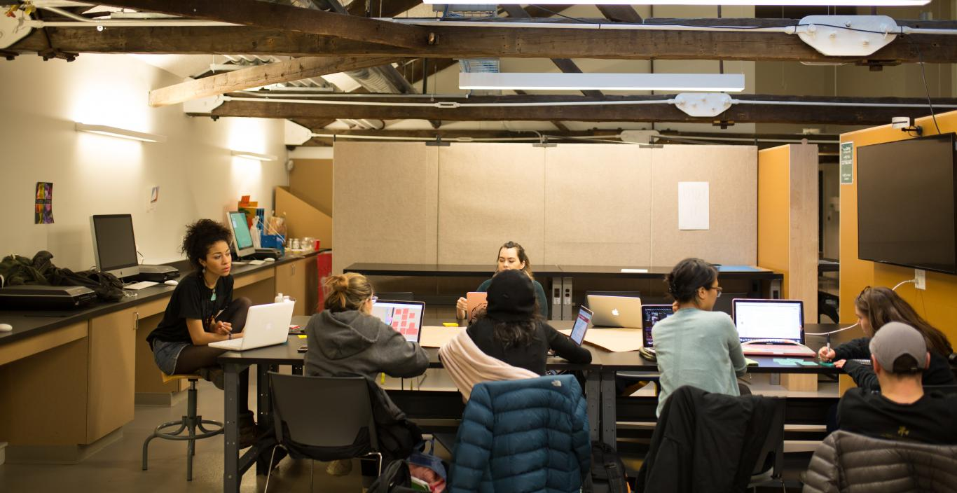 stuents working together in design studio