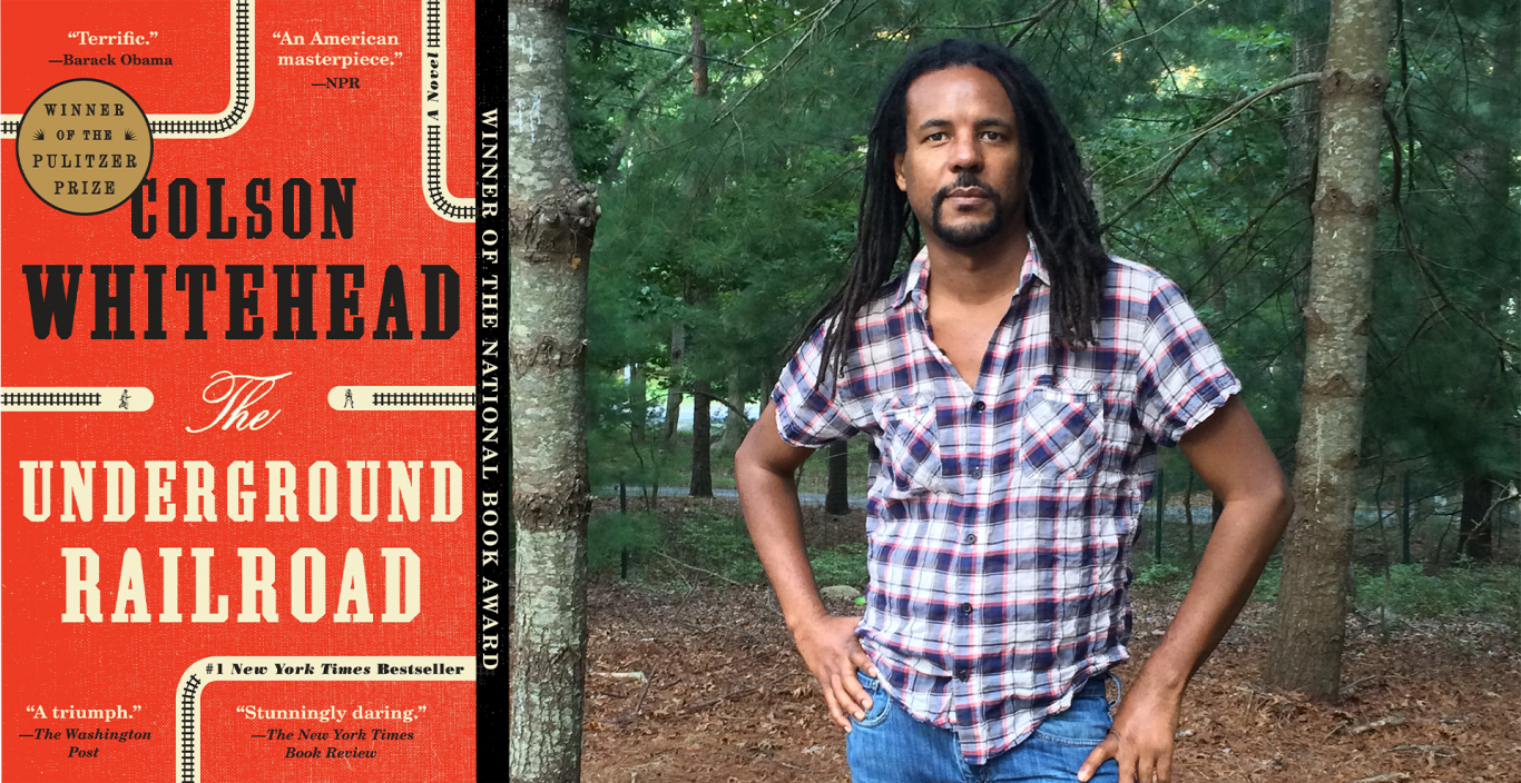 Colson Whitehead author photo (standing in the woods) and the cover of his book.