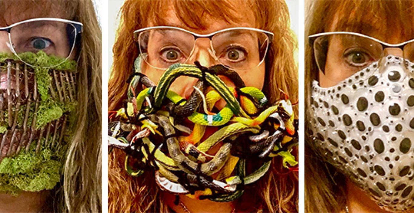 The artist in three different masks: rusted nails and moss, rubber snakes and googly eyes.
