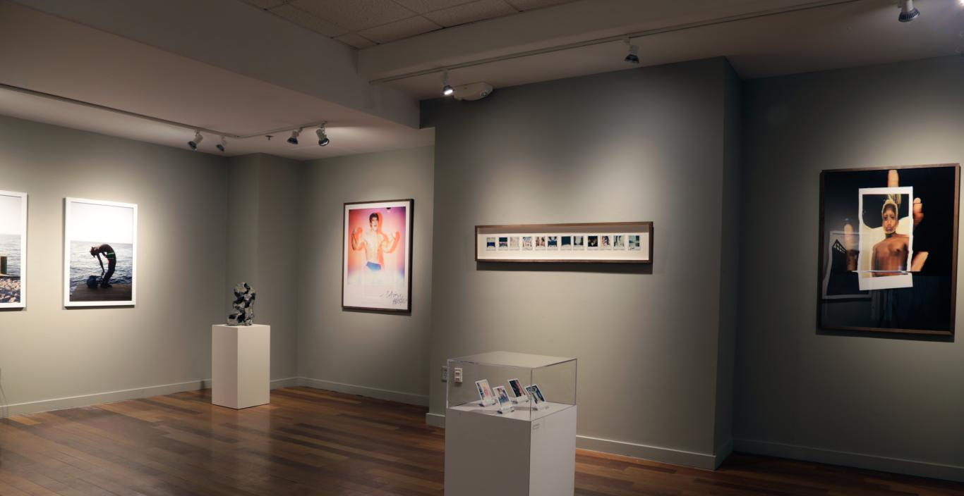 gallery photograph of artwork hanging on gray walls with spotlight shining on work