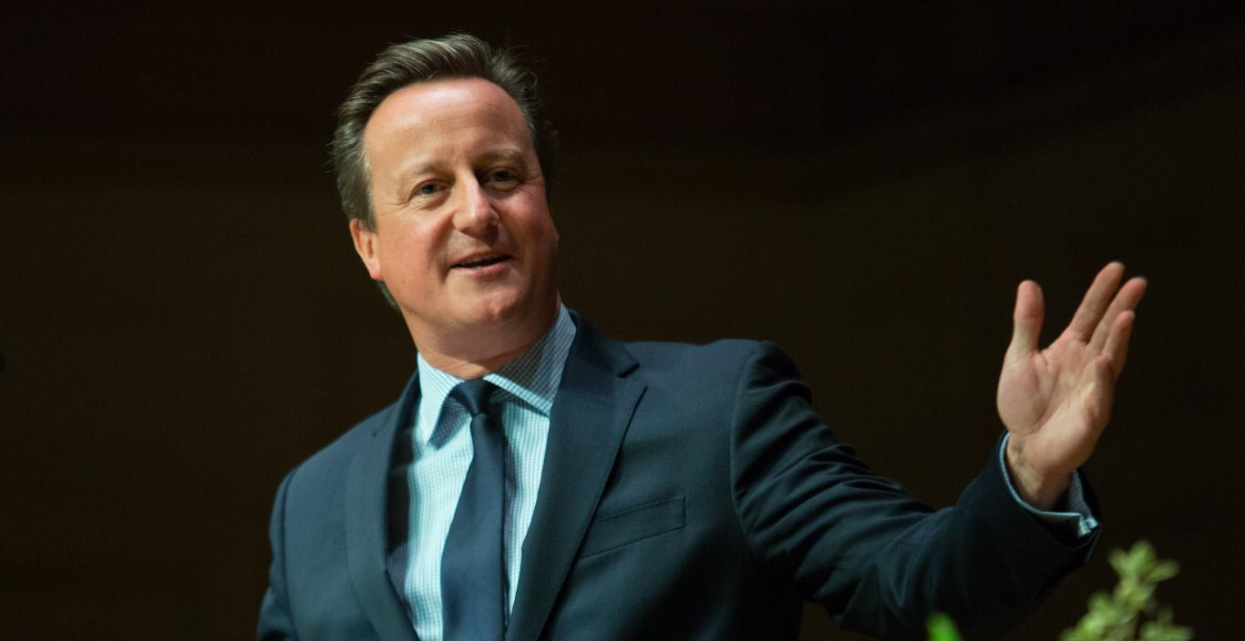 David Cameron addresses the audience at Symphony Hall.