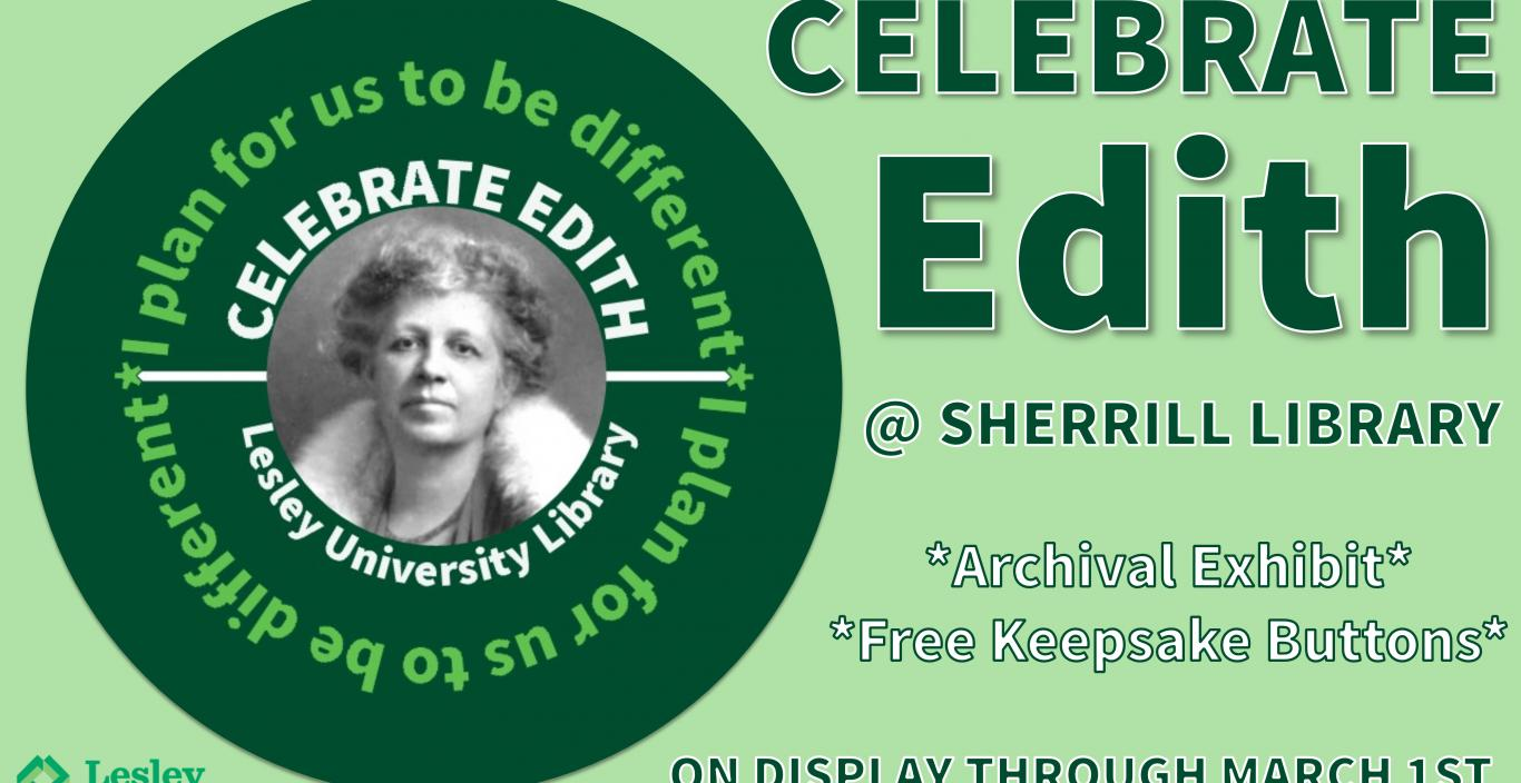 Celebrate Edith exhibit poster.