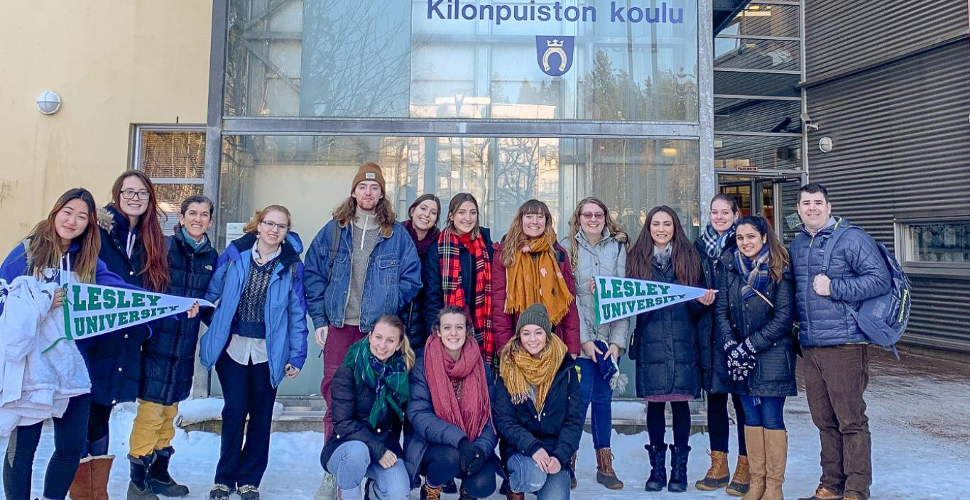Group picture in front of school building in Finland.