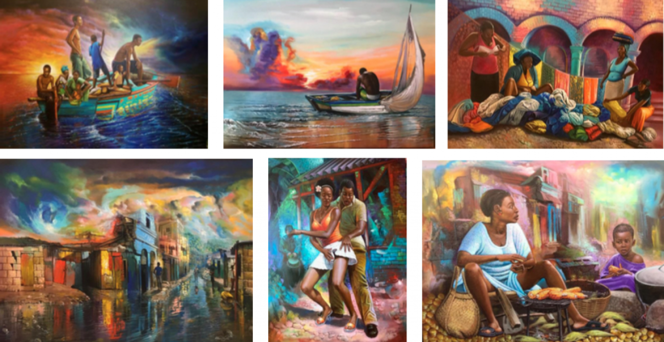 A montage of the artist's colorful Haitian paintings.