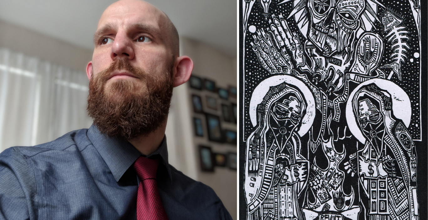 On left: Joe Mageary headshot, looking off to the side. On right: A black and white drawing of skulls and skeletons with the words hope and revolt.