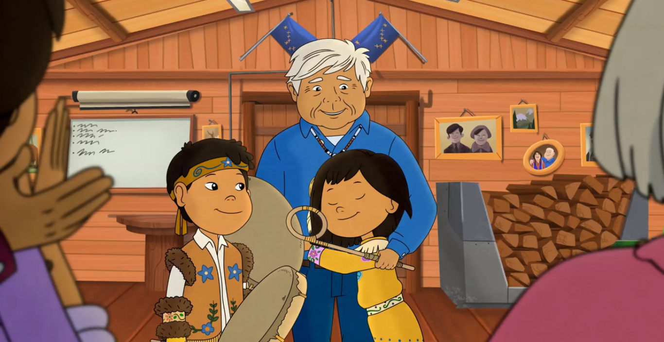 Molly of Denali hugs her grandfather.