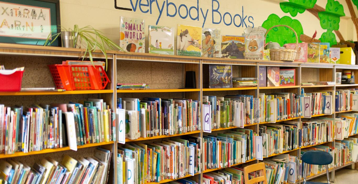 PreK-2 classroom library with rows of bookshelves