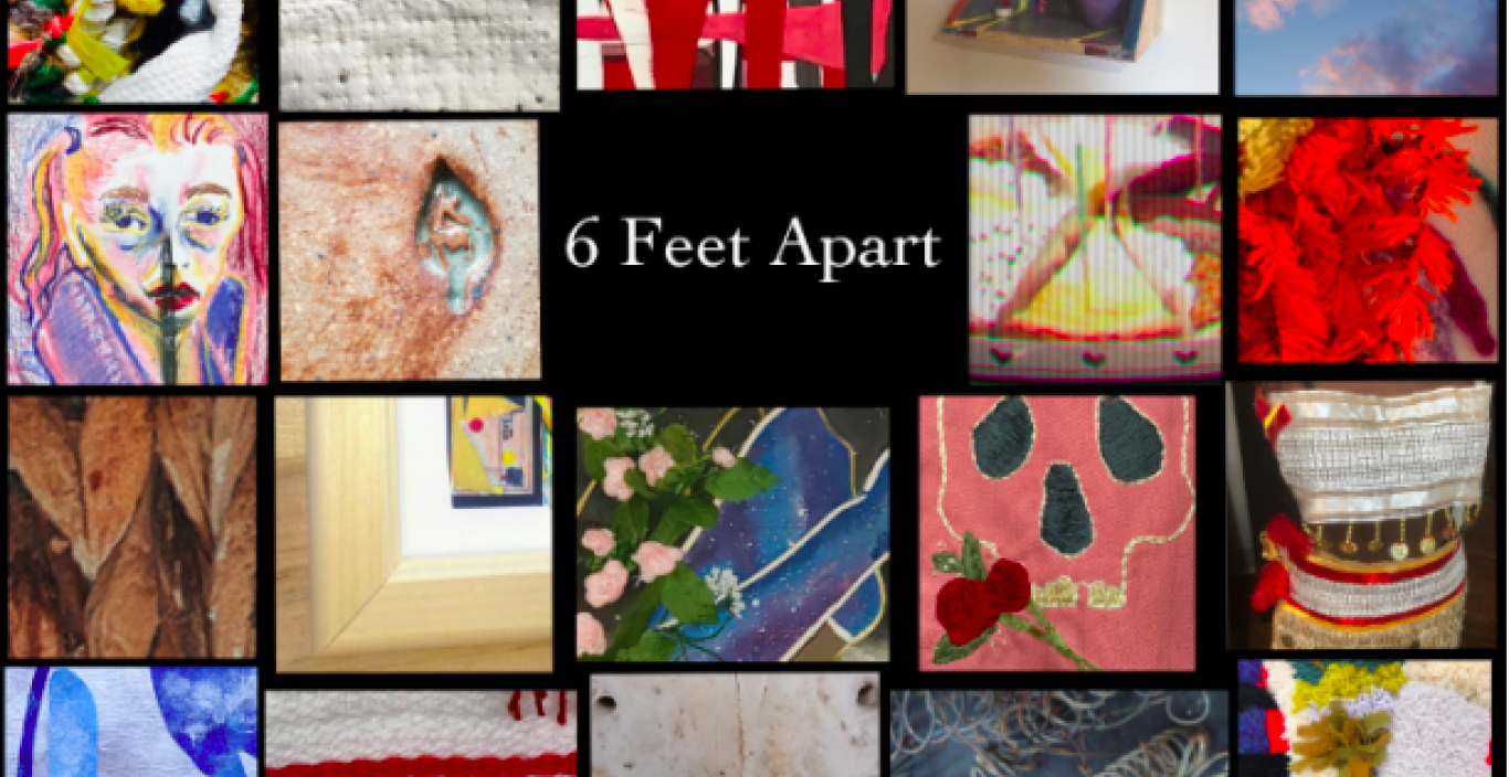 "18 small images made by students for exhibition called ""6 feet apart"""