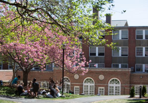 students outside on doble quad