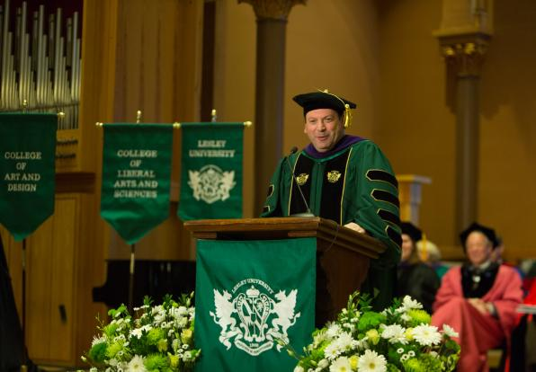 President Jeff A. Weiss delivers his inaugural address on March 25, 2017.