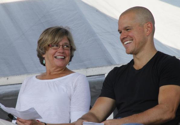 Lesley's Dr. Nancy Carlsson-Paige and her son, Matt Damon, are pictured at the Save our Schools Rally in Washington, D.C.