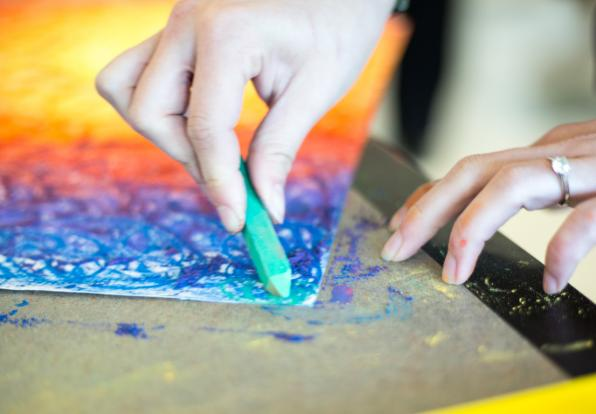 art therapy rainbow chalk drawing
