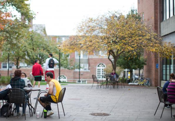 students gathered in the quad during summer